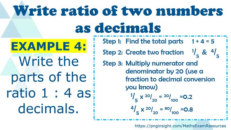 write the ratio of two numbers as decimals